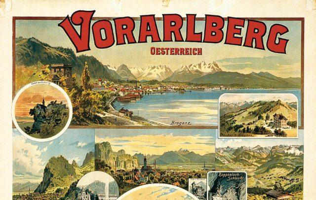 Erstes Werbeplakat des Landesverbandes Vorarlberg Tourismus 1894